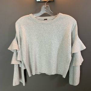 Sweaters - Adorable Grey Tiered Arm Sweater